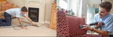 man cleaning carpets and upholstery
