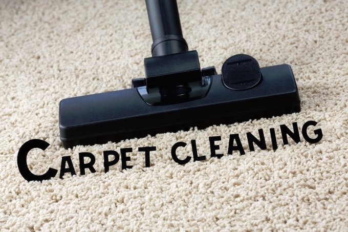 Carpet cleaning with text