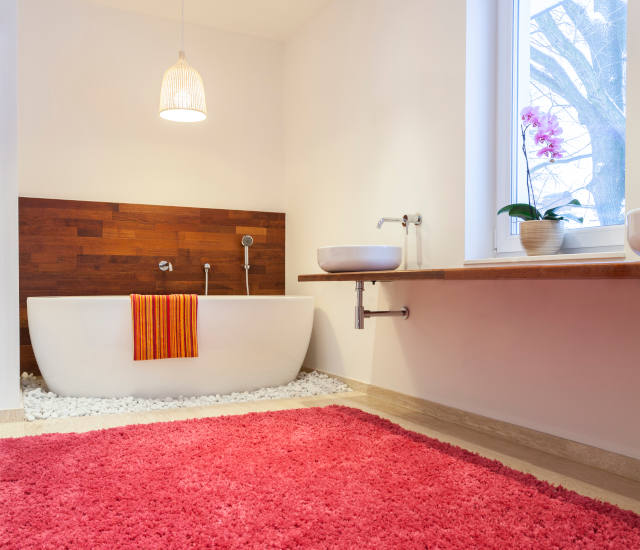 Bathroom with a huge pink carpet