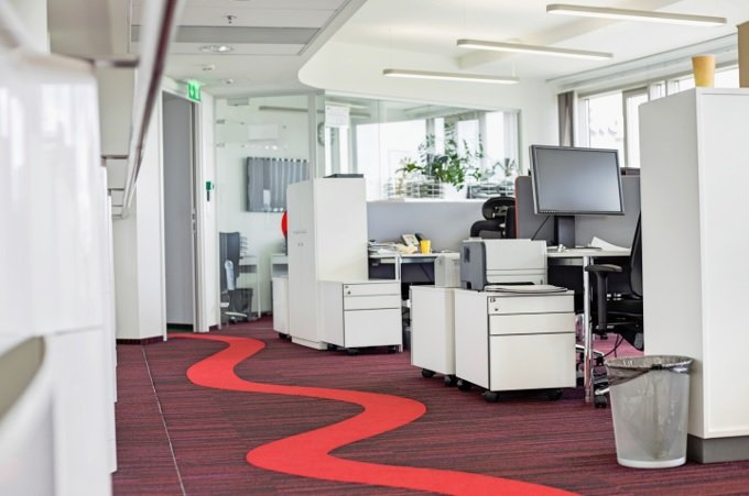 Office with red carpet