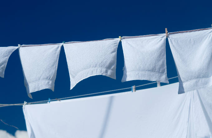 Towels drying on the line
