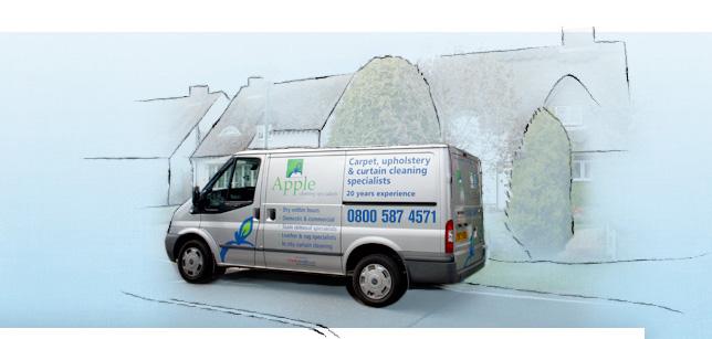 Apple Clean van in front of houses