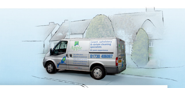 Apple Clean Petersfield mast van in front of houses