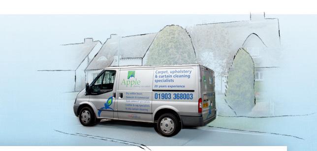 Apple Clean Worthing van in front of houses